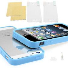 NEU ! iPhone 5 TPU Bumper Crystal Case Silikon Schutz Folie Hülle Cover blau