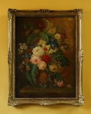More details for still life of flowers | 19th century antique oil on panel painting in gilt frame