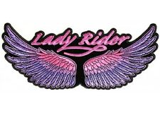 "(L01) Large LADY RIDER WINGS 10"" x 4.5"" iron on Back patch (3119) Purple/Pink"
