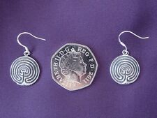Pewter Labyrinth Earrings on 925 Silver ear wires.