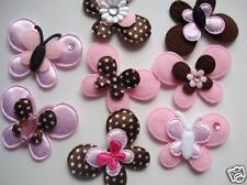 80 Pink & Brown Satin Polka Dot/Felt Butterfly Applique/bow/Craft/Layer/Trim L35