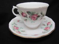 Royal Vale England Bone China PINK Rose Moss Fotted Cup & Saucer Set 3 Exc Lot