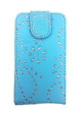 BLUE FASHION DIAMOND BLING FLIP CASE FOR SAMSUNG GALAXY ACE S5830 (2011) UK SELL