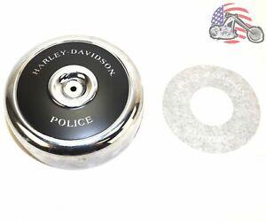 Round Black Chrome Air Cleaner Filter Cover Insert Harley Police Evo FXRP FLHTP