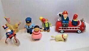 Wooden Toy Set Lot Of 7 ~ Fire truck. Policeman, Children, Pets + Storage Bag!