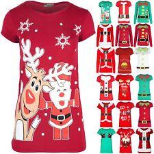 Womens Ladies Santa Rudolph Snowflake T Shirt Christmas Cap Sleeve Jersey Top