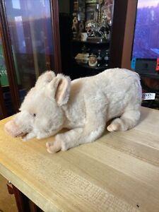 "2010 Hansa Penelope Pig Plush Toy 11"" Long, Very Realistic Details"