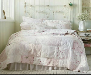 Simply Shabby Chic King Size Pink Patchwork Quilt EUC Cotton