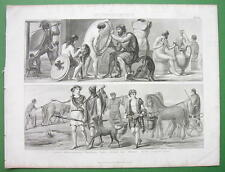 GREECE People's Costume Trades Sculptor Arms Maker Farmer - Antique Print