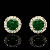 2CT Halo Created Green Emerald Diamond Stud Round Earrings Solid 14k Yellow Gold
