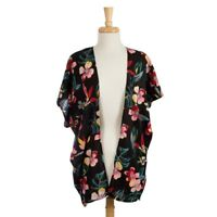 NWT! Life is Beautiful - Black Floral Short Sleeve Kimono - OS Fits Most