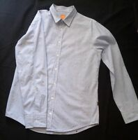 Hugo Boss Orange Label Slim Fit Men's Size L Cotton Shirt Skull Blue White