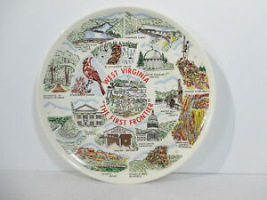 Plate West Virginia State Souvenir First Frontier Capital Vtg Ceramic Decor