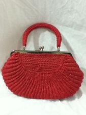 Vintage Babette Japan 1950s 1960s Woven Straw Tote RED Handbag Clutch Purse
