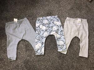 Next Baby boys 3-6 months Whale Leggings Bundle (x3 Pairs)