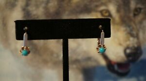 14 K 585 Rose Gold Turquoise Russian Earrings! Stunning!