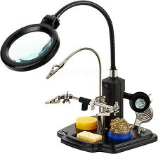Soldering Iron Stand Holder 3rd Helping Hand Magnifying Len Magnifier Repair Fix