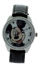 Disney Micky Mouse Watch Genuine Leather Black Strap With Stone Bezel