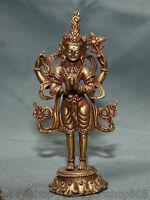 """5.4 """"Temple Bouddhisme du Tibet Cuivre Doré Or 4 bras Statue Bouddha Chenrezig"""