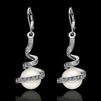 18k 18ct White Gold Filled Solid GF Crystals Pearl  Earrings E-A472