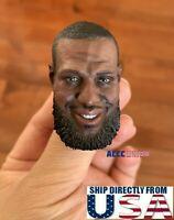 """1/6 LeBron James Head Sculpt NBA For 12"""" Enterbay Hot Toys PHICEN TBL Figure USA"""