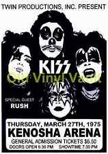 "KISS Concert Poster Ice Arena ,Kenosha,WI,USA 1975 A3 Reproduction ""NEW"""