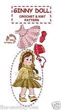 "Ginny Crochet & knit Doll clothes 8""  Pattern vintage"