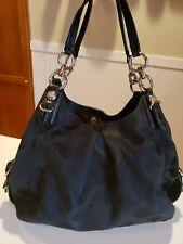 COACH Madison Maggie Op Art Black Canvas Leather Hobo Shoulder Handbag 21125 EUC