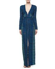 New Designer J. Mendel Paris  Cotton Blend Lace Two Tone Maxi Gown Blue $5800, 8