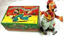 Vintage Tin Wind Up TPS Japan Hobo Clown On Roller Skates Toy with Box