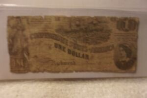 Authentic Confederate States America $1 Dollars Note Currency 1862 T 44 Rarity 4