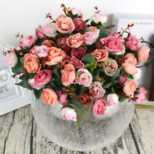 21 Heads Artificial Silk Fake Rose Dried Flower Bouquet Wedding Home Party Decor
