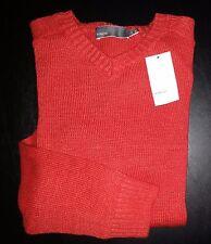 Vince Sweater V-neck 100% Linen L/S L Orange Sweater NWT $225 c731