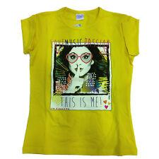 VIOLETTA camiseta amarillo de algodón talla 10 anni de niña