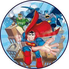 Superman Batman Avengers Deco Gateau Disque Azyme Comestible Anniversaire 20cm