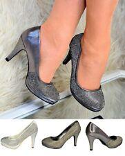 Señoras Diamante Tacones Altos Plataforma Estrás Resbalón en Zapatos De Salón Fiesta Brillante