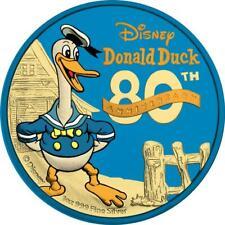 Niue 2014 $2 Donald Duck 80th Ann. - Blue Gold & Yellow Gold 1 Oz Silver Coin