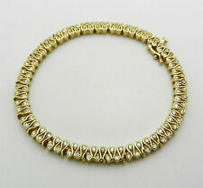 "Estate 14k Yellow Gold Tennis Style Natural Diamonds 2.30 tcw Bracelet 7.25"" lng"