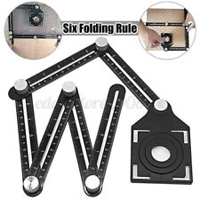 Adjustable Six Fold Tool Ruler Drill Guide Opening Ceramic Tile Hole Locator
