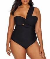 Eloquii BLACK Plus Size One-Shoulder Underwire One-Piece Swimsuit, US 18