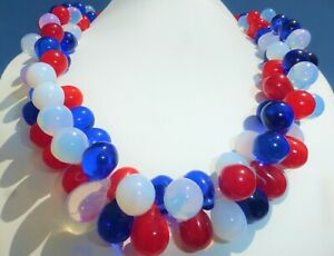 AMAZING RED BLUE OPALESCENT GLASS TEARDROP CLUSTER NECKLACE Large