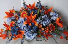 XL Full Two Sided Blue Orange Cemetery Tombstone Saddle Silk Grave Flowers