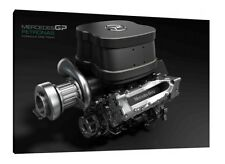 Mercedes F1 Engine - 30x20 Inch Canvas - Formula One Framed Picture Hamilton