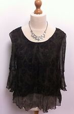 LADIES TOP SHOP GREEN & BLACK SHEER T SHIRT /  BLOUSE TOP SIZE 14