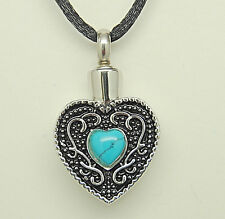 Heart Cremation Urn Necklace with Turquoise || December Birthstone Jewelry Urn