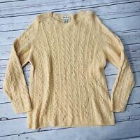 Eddie Bauer Womens Medium Peach Beige Lambswool Cable knit Sweater Long Sleeve