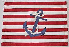 Red White Stripes Blue Anchor Cotton Canvas Placemats Set of 4