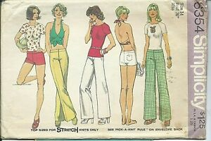 S 6354 sewing pattern 70's Trendy HALTER TOP Hip-Hugger PANTS SHORTS sew size 14