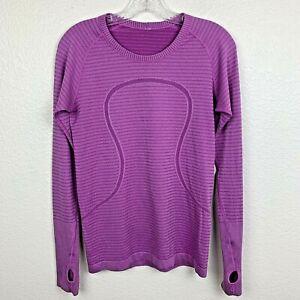 Lululemon Run Swiftly Tech Long Sleeve Size 8 Rugby Stripe Ultra Violet Purple