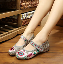 Women's Chinese Embroidery Shoes Floral Oxfords Sole Mary Jane Shoes Linen Pumps